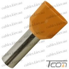 Кабельный наконечник трубчатый с изоляцией двойной 2х4,0кв.мм (100шт.) (ТЕ-4012), Tcom