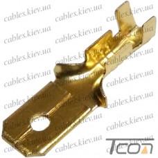 Кабельная клемма ножевая неизолированная (штекер) 6,3х0,4мм, для кабеля 1-1,5мм.кв. (100шт/уп) (DJ617-6.3B), Tcom