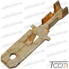 Кабельная клемма ножевая не изолированная (штекер) 6,3х0,5мм, для кабеля 1.0х1.5мм.кв, (100шт/уп) (DJ611-6.3B), Tcom