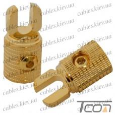 Клемма автомобильная вилочная металл Gold, 0GA, Tcom