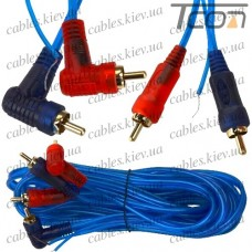 """Шнур соединительный """"Tcom"""", 2 штекера RCA - 2 штекера RCA угловых, """"gold"""", диам.-3+1+3мм, прозрачно-синий, 5м"""
