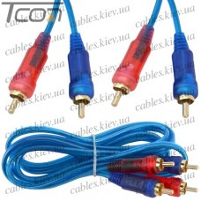 Шнур соединительный 2 RCA х 2 RCA, gold, диам.-3+3мм, прозрачно-синий, 1,5м, Tcom