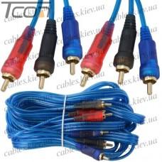 Шнур соединительный 3 RCA х 3 RCA, gold, диам.-3+3+3мм, прозрачно-синий, 5м, Tcom