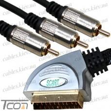 Шнур штекер Скарт- 3RCA металлический, gold, в блист.,с фильтрами 1,5м., Tcom