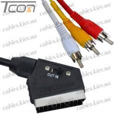 """Шнур соединительный """"Tcom"""", штекер Скарт - 3RCA c переключателем """"Вход-Выход"""", диам.-7мм, 1,5метра"""