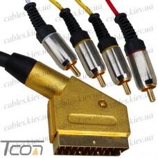 Шнур соединительный штекер Скарт - 4RCA металл gold, с фильтрами, 1,5м, Tcom