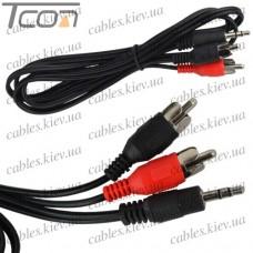 """Шнур аудио- видео """"Tcom"""", штекер 3,5 стерео - 2 штекера RCA, диам.- 2,6х5,2мм, 1,2 метра"""