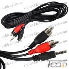 """Шнур аудио- видео """"Tcom"""", штекер 3,5 стерео - 2 штекера RCA, диам.- 2,6х5,2мм, 1,8метра"""