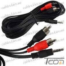 """Шнур аудио- видео """"Tcom"""", штекер 3,5 стерео - 2 штекера RCA, диам.- 2,6х5,2мм, 3метра"""