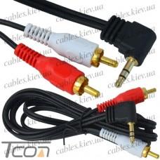 """Шнур аудио- видео """"Tcom"""", штекер 3,5 стерео угловой - 2 штекера RCA, gold, диам.-2,8х5,6мм, 1,5м"""