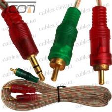 Шнур аудио-видео штекер 3,5 стерео - 2 штекера RCA, gold, диам.-3х6мм, 2м, прозрачный, Tcom