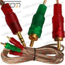 Шнур аудио-видео штекер 3,5 стерео - 2 штекера RCA, gold, диам.-3х6мм, 3м, прозрачный, Tcom