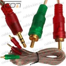 Шнур аудио-видео штекер 3,5 стерео - 2 штекера RCA, gold, диам.-3х6мм, 5м, прозрачный, Tcom