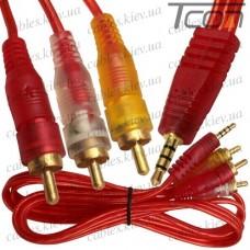 Шнур аудио- видео штекер 3,5мм 4C - 3 штекер RCA, прозрачно-красный, 1,2 метра, Tcom