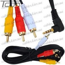 """Шнур аудио- видео """"Tcom"""", штекер 3,5мм 4C угловой - 3 штекера RCA, диам.-2,6х7,8мм, 1,8м, чёрный"""