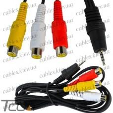 """Шнур аудио- видео """"Tcom"""", штекер 2,5мм 4C - 3 гнезда RCA, диам.-2,6х7,8мм, 1,5м"""