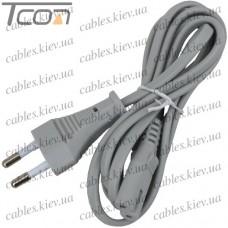 Шнур сетевой 2x0,5мм CU (штампованая надпись), серый, 1,5метра, Tcom