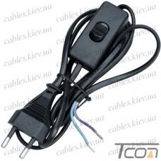 Шнур сетевой для бра с выключателем, 2х0.75мм (медь), 1.5м, чёрный