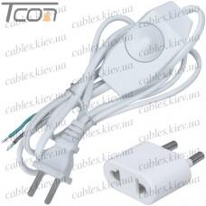 Шнур сетевой для бра с выключателем-регулятором, 2х0.75мм (медь), 1.5м, белый + переходник