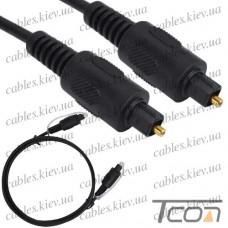 Шнур оптический (toslink plug - toslink plug) диам.-4мм, 1метр, Tcom