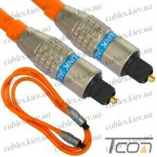 Шнур оптический (toslink plug- toslink plug) Hi-Fi, металл, в блистере,с фильтром, 1м, Tcom