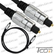 Шнур оптический (toslink plug - toslink plug) металл, диам.-5мм, 1м, Tcom