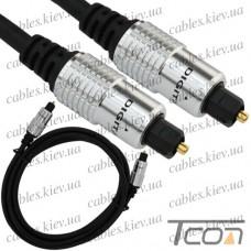 Шнур оптический (toslink plug - toslink plug) металл, диам.-5мм, 2м, Tcom