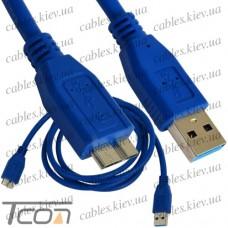 Шнур компьютерный штекер USB А - штекер miсro USB тип В, v.3.0, диам.-6мм, 1,5м, синий, Tcom