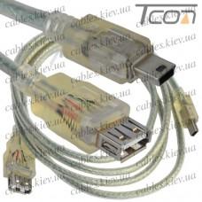 Шнур компьютерный гнездо USB А - штекер miniUSB 5pin, v.2.0, диам.-5мм, 1,5м, прозрачный, Tcom