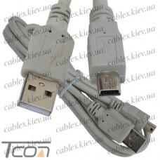 Шнур компьютерный штекер USB А - штекер mini USB 5pin Vers.2.0, диам.-3,5мм, 1.5м, Tcom