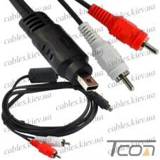 Шнур компьютерный 2 штекера RCA - штекер mini USB 8pin (плоский), с фильтром, 1,5м, Tcom
