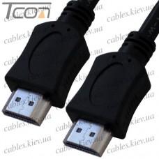 Шнур HDMI (штекер - штекер) v.1,4, диаметр - 6мм, 1м, чёрный, Tcom