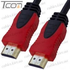 Шнур HDMI (штекер - штекер) v.1,4, диаметр - 6мм, gold, 1,5м, красно-чёрный, Tcom