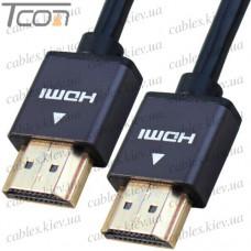 Шнур HDMI (штекер-штекер), v.1.4, gold, диам.-4,2мм, в блистере, 1м, Tcom