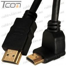 Шнур HDMI (штекер - штекер угловой) Vers.-1,4, диам.-6мм, позолоченный, 1м, чёрный, Tcom