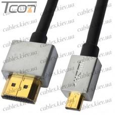 """Шнур HDMI """"Ultra Slim"""" (штекер HDMI - штекер micro HDMI), Vers.1,4, """"позолоченный"""", диам.-4,2мм, 1м (в блистере)"""
