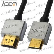 """Шнур HDMI (штекер HDMI - штекер mini HDMI), v.1.4, """"позолоченный"""", диам.-4,2мм, 1м (в блистере), Ultra Slim"""