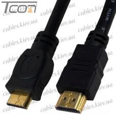 """Шнур HDMI (штекер HDMI - штекер mini HDMI), """"позолоченный"""", диам.-6,0мм, 1,5м, чёрный, Tcom"""