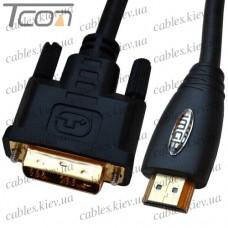 "Шнур HDMI (штекер HDMI - штекер DVI), ""позолоченный"", диам.- 6,0мм, 2м, чёрный (в блистере), Tcom"