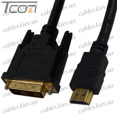 """Шнур HDMI (штекер HDMI - штекер DVI), """"позолоченный"""", с фильтрами, диам.- 8,0мм, 2м, чёрный, Tcom"""