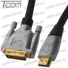 """Шнур HDMI """"COMP"""" (штекер HDMI - штекер DVI), Hi-Fi, """"позолоченный"""", с фильтрами, 1,5м (в блистере)"""