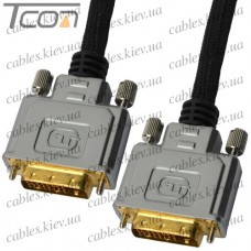"Шнур DVI(24+1) (штекер DVI - штекер DVI), Hi-Fi, ""позолоченный"", с фильтрами, диам.-11мм, 1,5м (в блистере), COMP"