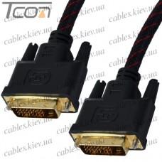 "Шнур DVI ""Tcom"" (штекер DVI - штекер DVI), ""позолоченный"", диам.-6мм, 3м, красно-чёрный"