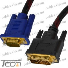 "Шнур ""Tcom"", штекер DVI - штекер VGA, 1,5м, красно-чёрный"