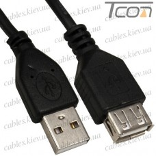 Удлинитель USB штекер A - гнездо А, Vers.-2.0, диам.-4мм, 1,5м, чёрный, Tcom
