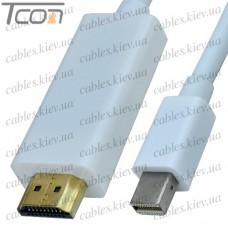 Шнур штекер HDMI - штекер mini Display Port, позолоченный, белый, 1метр, Tcom