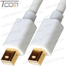 Шнур штекер mini Display Port - штекер mini Display Port, позолоченный, белый, 1 метр, Tcom
