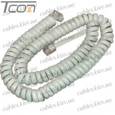 Телефонный удлинитель витой трубочный (4р4с), 2метра, белый, Tcom