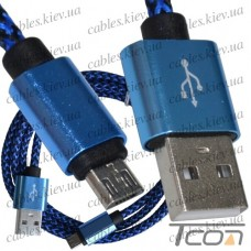 Шнур компьютерный штекер USB А - штекер miсro USB (Samsung), 2.1А, сетка, диам.-4,5мм, 1м, синий, Tcom