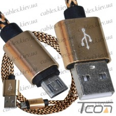 Шнур компьютерный штекер USB А - штекер miсro USB (Samsung), 2.1А, сетка, диам.-4,5мм, 1м, золотистый, Tcom